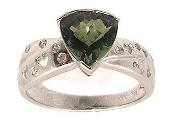 7310: 14KW 1.61ct Green Tourmaline Trillion Diamond Rin