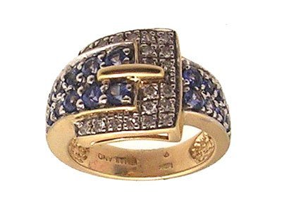 7312: 14KY 1.20ct Sapphire Rd .20ct Diamond Buckle Ring