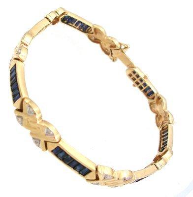 7314: 14KY 3.40ct Sapphire baguette Diamond Fan Bracele
