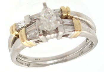 7316: 14KW .50ctw Diamond Marquise bagg 2 pc set ring