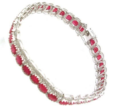 7384: 14KW 12.60ct Ruby Oval 1ct Diamond BraceletAPPR$5