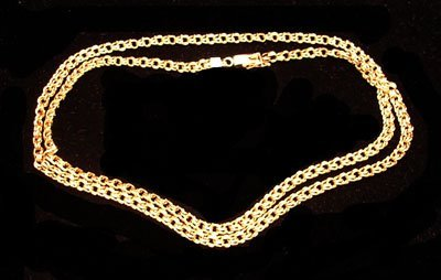 7457: 14KY 3.6mm Double Link Necklace 17gm