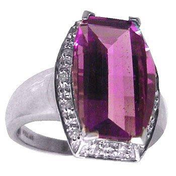 8100: 14kw 5ct Amethyst Cushion Cut Diamond Ring
