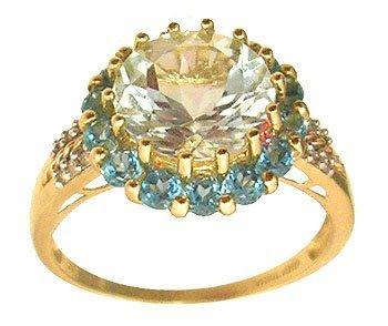 8102: 10ky 3ct Aquamarine Rd Blue Topaz Diamond Ring