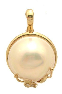 8105: 14ky Mabe Pearl Round Diamond Enhancer Pendant