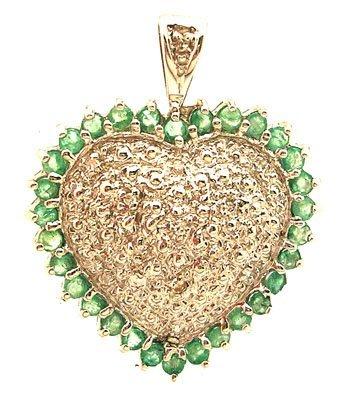 8110: 14kw .35ctw Emerald Round Diamond Pave Heart Pend