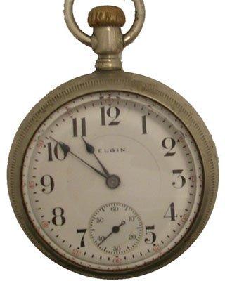 8115: Nickel 17J Elgin 18S Pocket Watch 1913