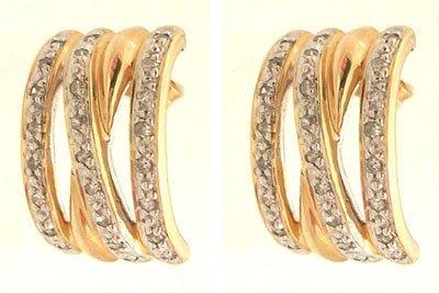 8117: 10ky .25ctw Diamond 3 Row Pave Earrings