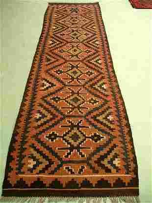 Hand Woven Persian Maimana Kilim Runner Rug 9x3