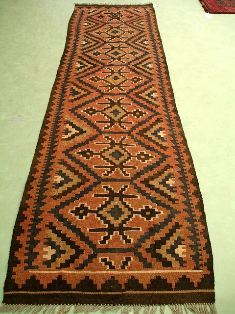81000: Hand Woven Persian Maimana Kilim Runner Rug 9x3