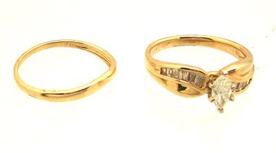 8313: 14KY .63cttw Diamond Marq Channel Bridal Set Ring
