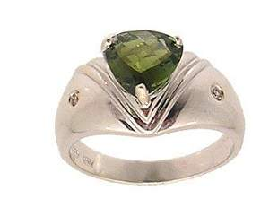 14KW 1.61ct Green Tourmaline Trillion Dia Gypsy R
