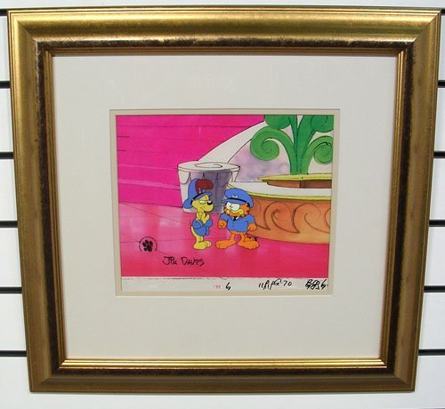 60001: Garfield + Odie Animation Cel Signed by Jim Davi