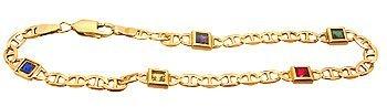 9100: 14KY Multi Gemtsone Link Style Bracelet