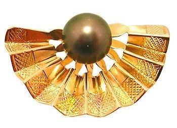9103: 18ky 9mm Tahitian Pearl Fan Pendant