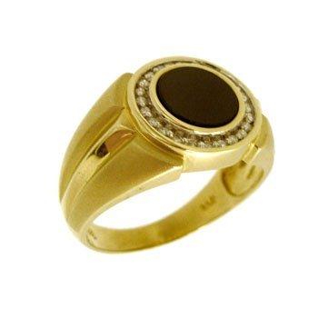 9105: 10KY Onyx Rd Diamond Pave Mens Satin Finish Ring