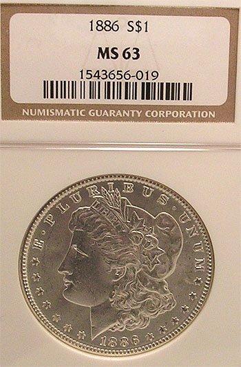 9107: 1886-P Morgan Silver Dollar Coin MS63/NGC