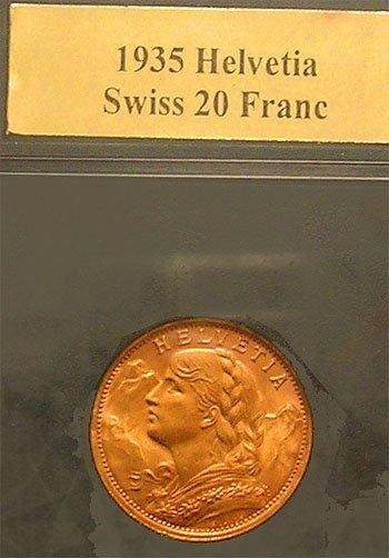 9108: 22KY 1935 Swiss 20 Franc Helvetia Gold Coin