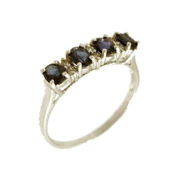 9110: 14KW .84ctw Sapphire Oval Diamond Ring
