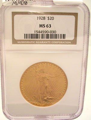 9224H: 22KY 1928-P $20 St Gaudens Liberty Coin MS63/NGC