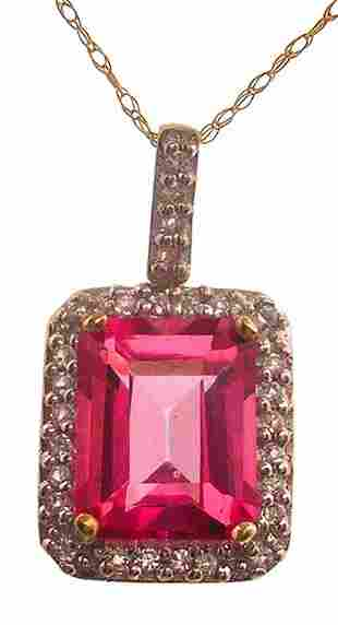 10ky 3.80ct Pink Topaz E-Cut Diamond Pave Pendant