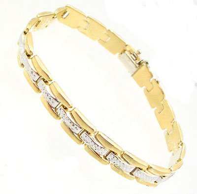 9301: 14KY Square Textured Link 2-tone Bracelet