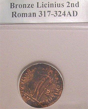 9309: Roman Bronze Licinius Second Coin 317-324AD