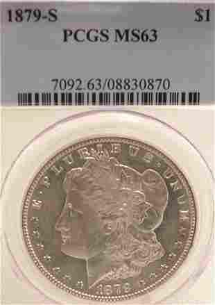 1879-S Morgan Silver Dollar Coin MS63/PCGS