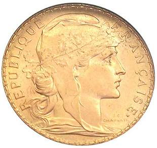 22KY 1913 French Rooster 20 Francs Gold Coin