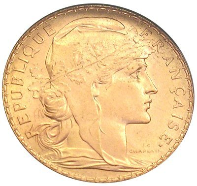 9311: 22KY 1913 French Rooster 20 Francs Gold Coin
