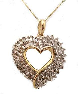 10KY .68cttw Diamond Bag Rd Heart Necklace