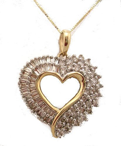 9313: 10KY .68cttw Diamond Bag Rd Heart Necklace