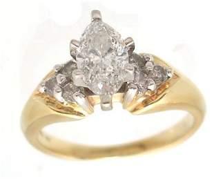 14KY .75ct Diamond Marquise .25ct dia trio Ring I