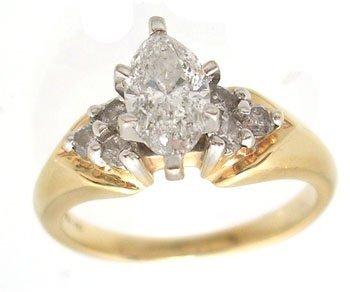 9315: 14KY .75ct Diamond Marquise .25ct dia trio Ring I