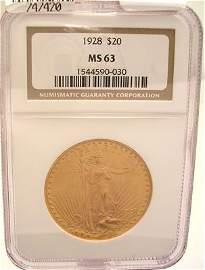 9424G: 22KY 1928-P $20 St Gaudens Liberty Coin MS63/NGC