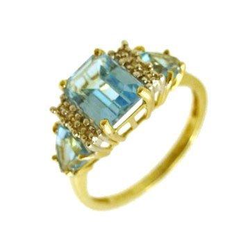 1101: 10ky 3.10ct Blue Topaz e-cut Trillion Diamond Rin