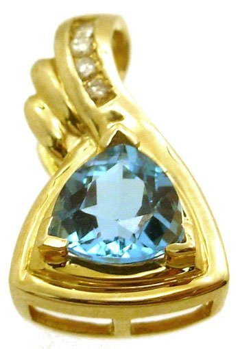 1102: 14KY 2.25ct Blue Topaz Trillion Diamond Slide Pen