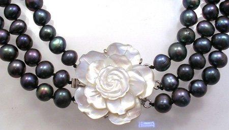 1107: 8mm Black Pearl MOP flower 3 Strand Necklace