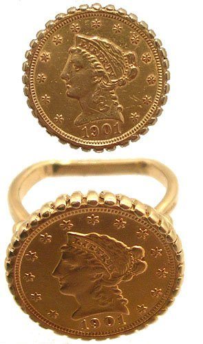 1110: 14KY 2 1/2 Liberty Head Gold Coin Ring 10gm