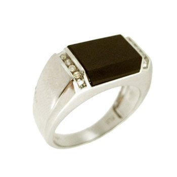 1111: 14KW Onyx Diamond Side Set Mens Ring