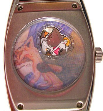 1113: OE Erotic Rectangle Black Dial Watch (red heads)