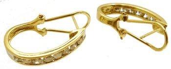 1116: 14KY 1cttw Diamond Rd Channel Omega Earring