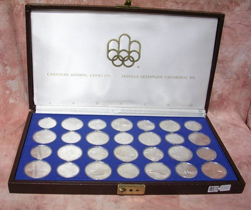 1225: 28PC Silver $10 & $5 Olympic Commemorative Coin S