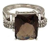 1330: 14KW 4ct Smokey Quartz checkerboard Diamond Ring