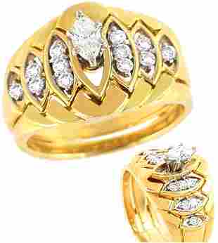 3/8cttw diamond marquise 2 pc engagement ring