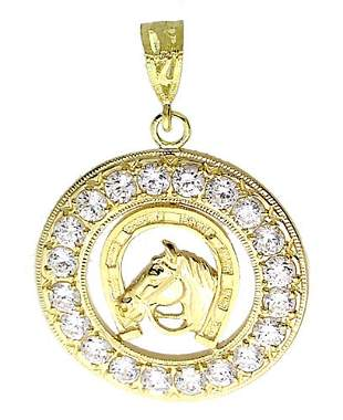 10YG Cubic Zirconia Horse head pendant very large