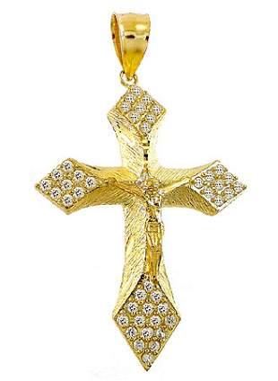 10YG Jesus Crucifix Cubic Zirconia pendant