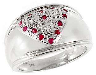 WG White Sapphire & Pink Sapphire band ring
