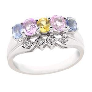 WG 1.35ct MIX sapphire dia 5 oval band ring