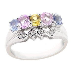 2015: WG 1.35ct MIX sapphire dia 5 oval band ring